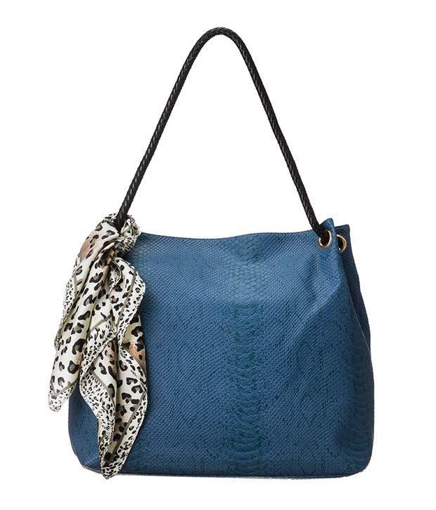 Scoopstreet Blue Faux Leather Shoulder Bag