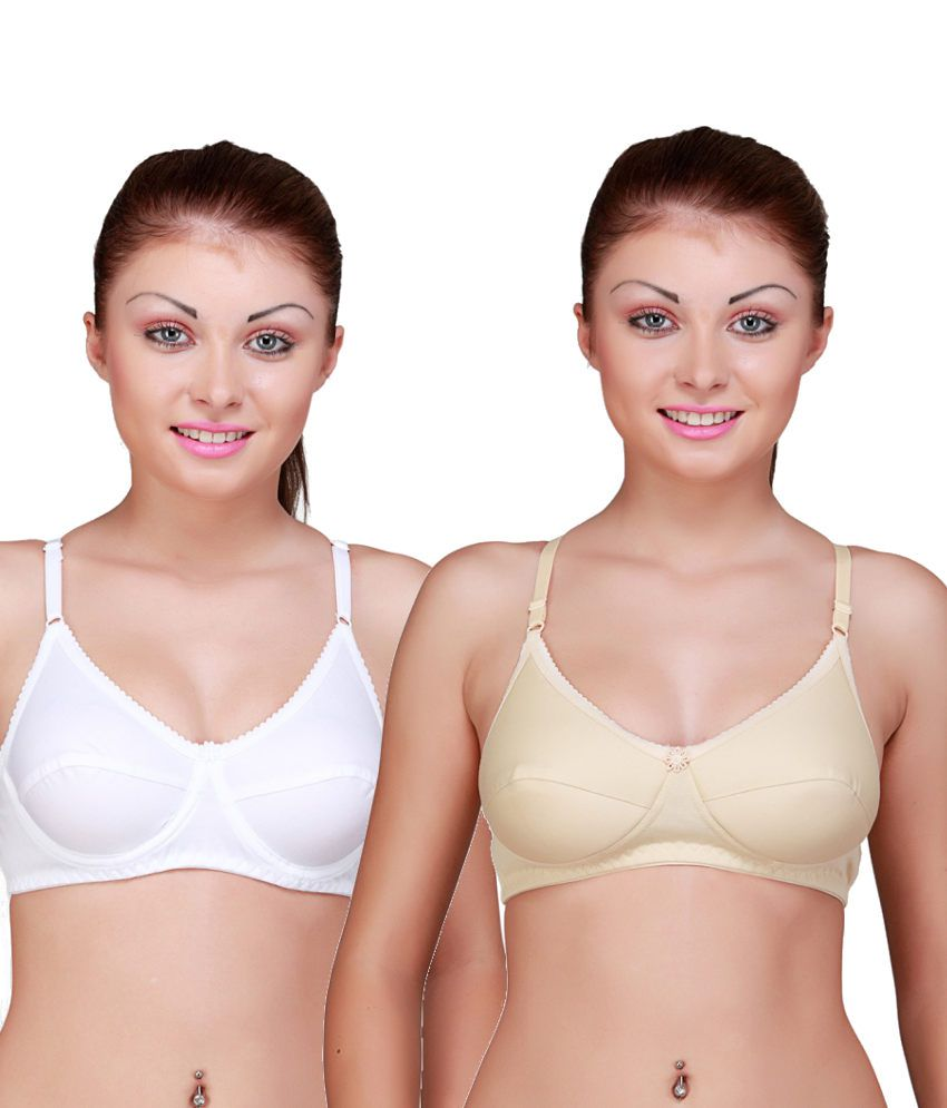 Floret Multi Color Cotton Padded Bra Pack of 2