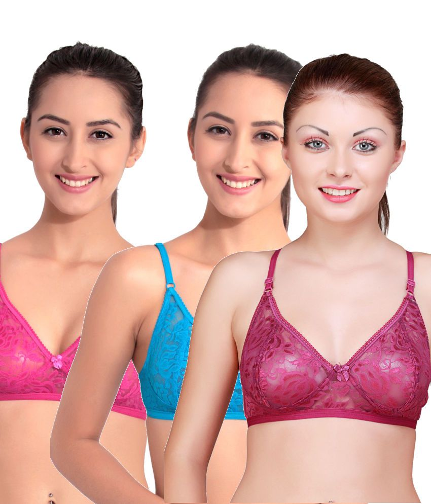 Floret Multi Color Cotton Non-Padded Bra Pack of 3