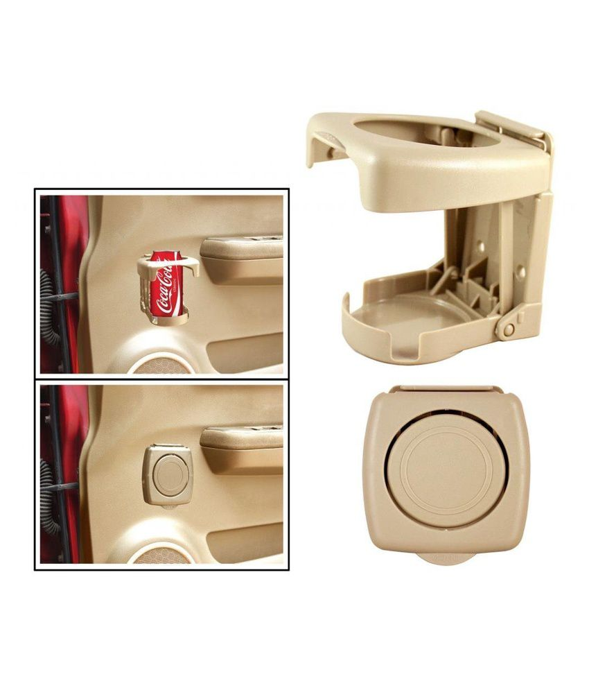 Autostark Beige Foldable Bottle/ Cup & Can Holder For Car Door - 1 Piece