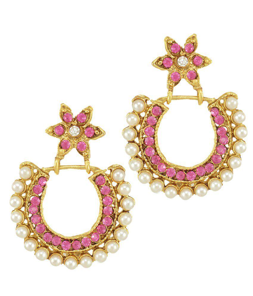 Dancing Girl Pink Alloy Polki Studded Drop Earrings