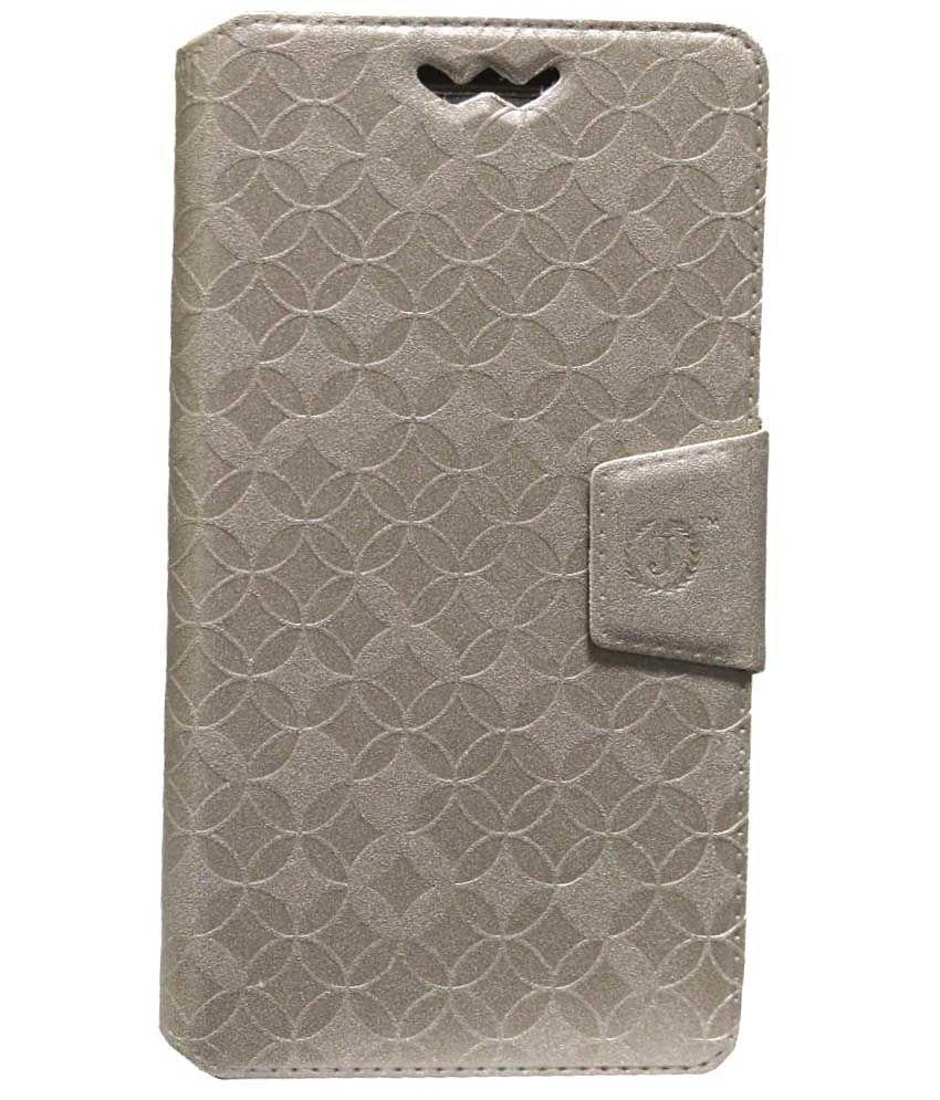 Jo Jo Synthetic Flip Cover For Nokia XL 4G - Golden