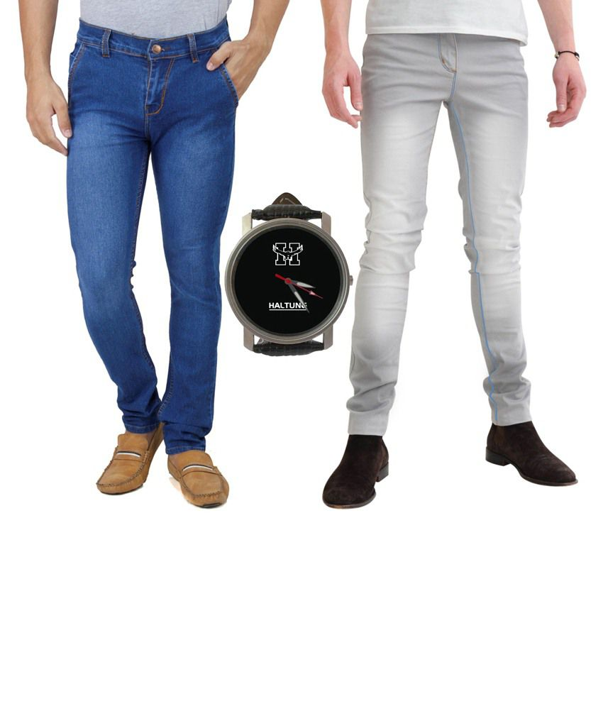 Haltung Blue & Grey Regular Fit Jeans Combo Of 2