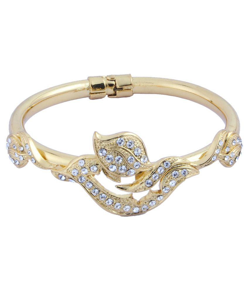 Trisha Jewels Golden Alloy Designer Bracelet with Box