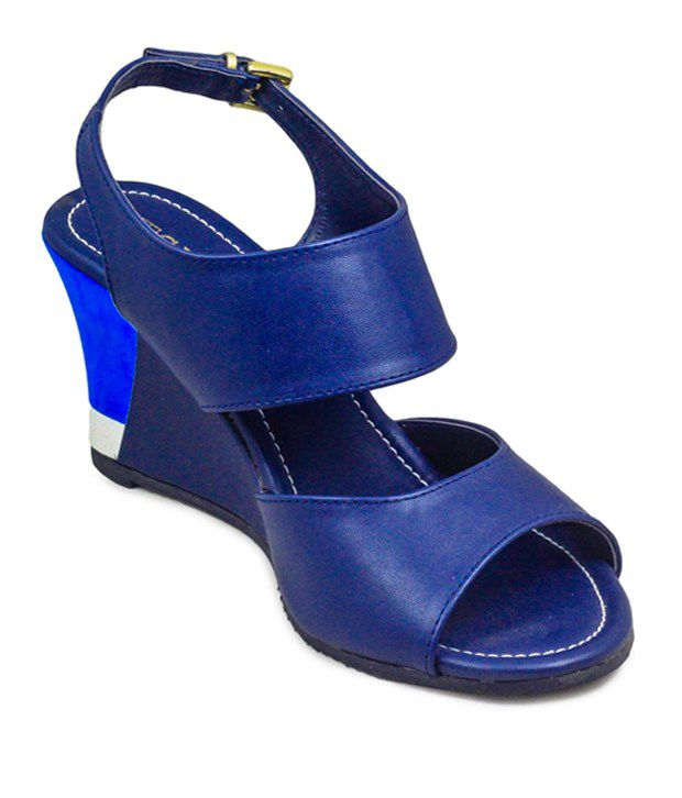 Gaiety Navy Blue syanthic Women Wedges