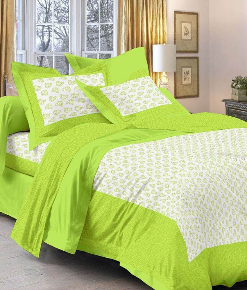 Kismat Collection Rajasthani King Size Double Bed Sheet With 2 Pillow Cover