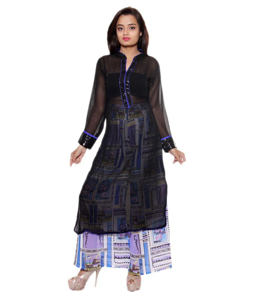 Style Junction Blue Faux Georgette Stitched Suit