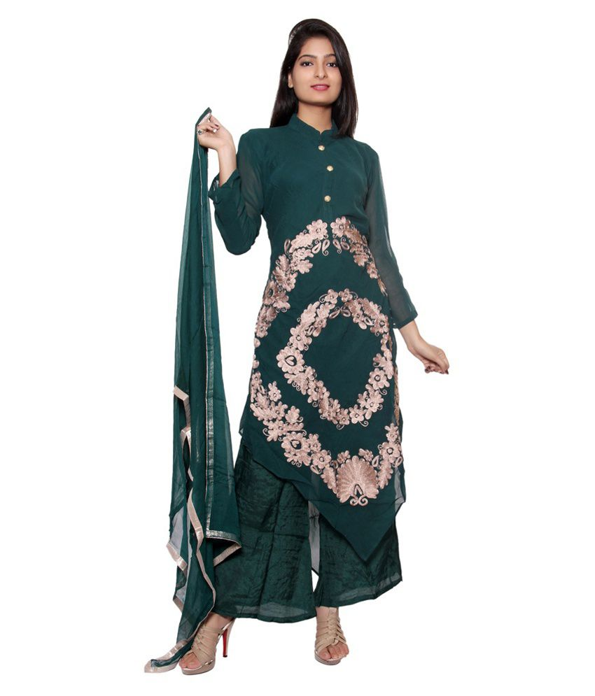 Style Junction Green Faux Georgette Stitched Suit