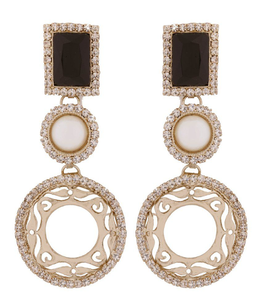The Jewelbox Black Copper Geometrics Drop Earrings