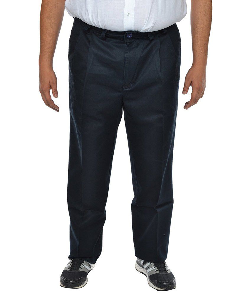 Asaba Blue Regular Fit Formal Pleated Trousers