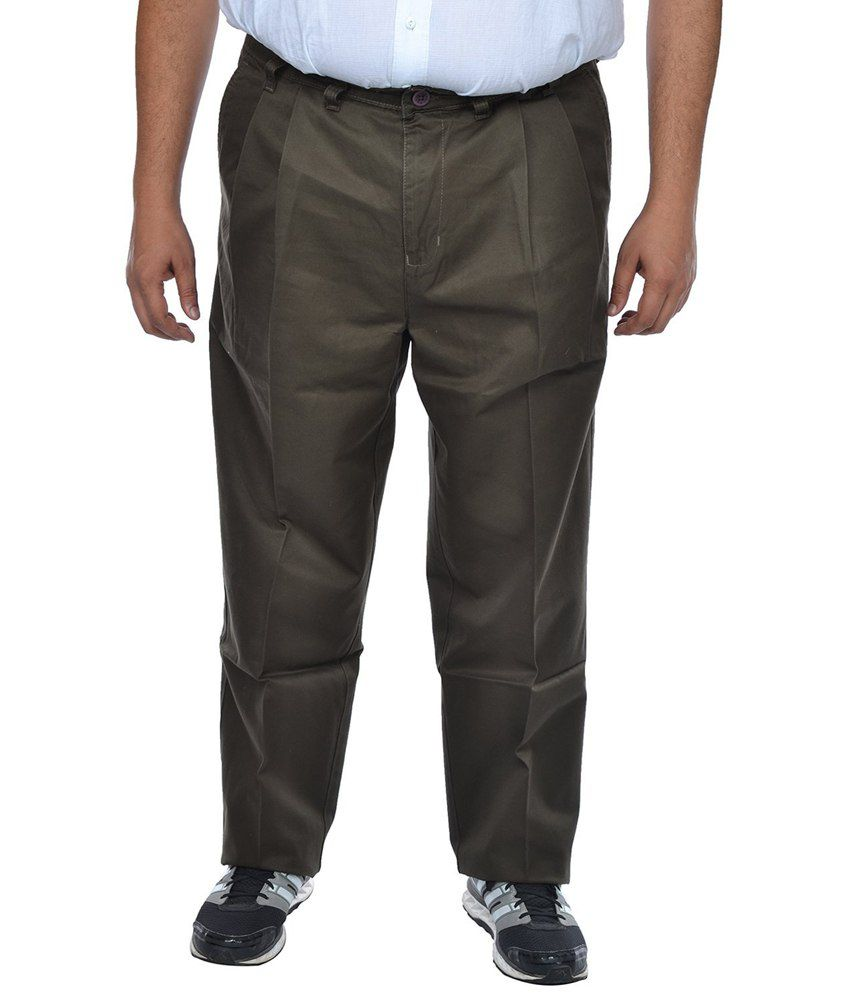 Asaba Green Regular Fit Formal Pleated Trousers