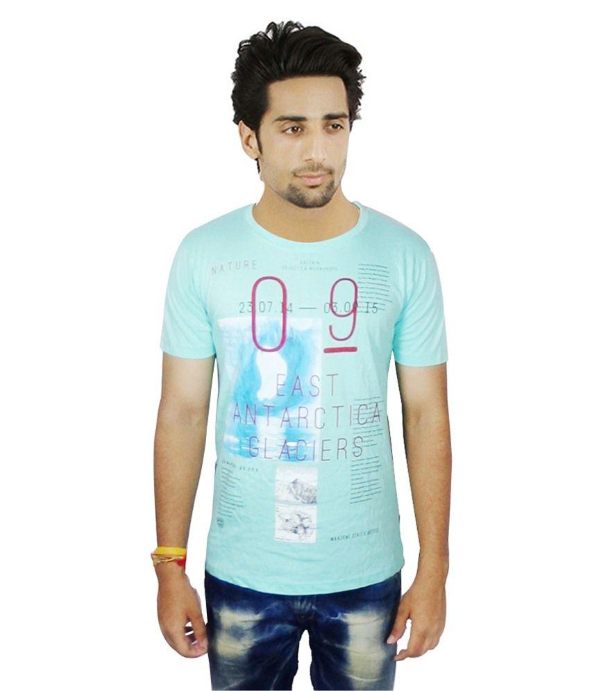 Maxzone Blue Cotton T-shirt