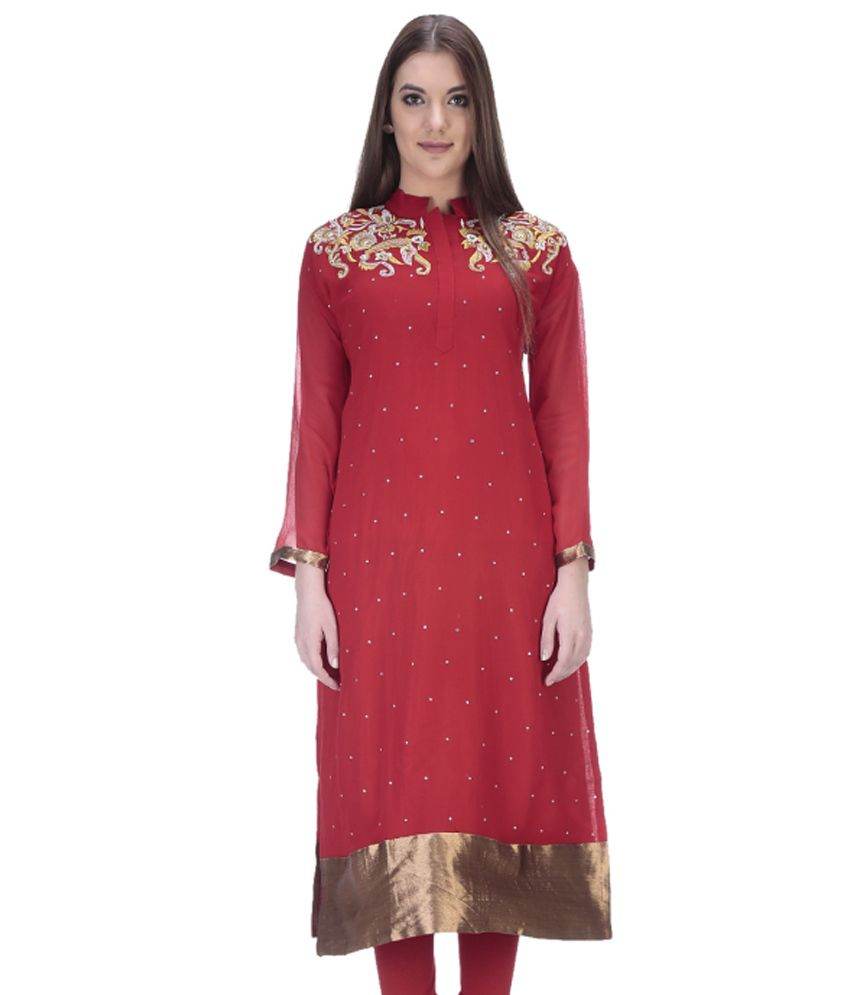 Only-Mee Red Pure Georgette Kurti