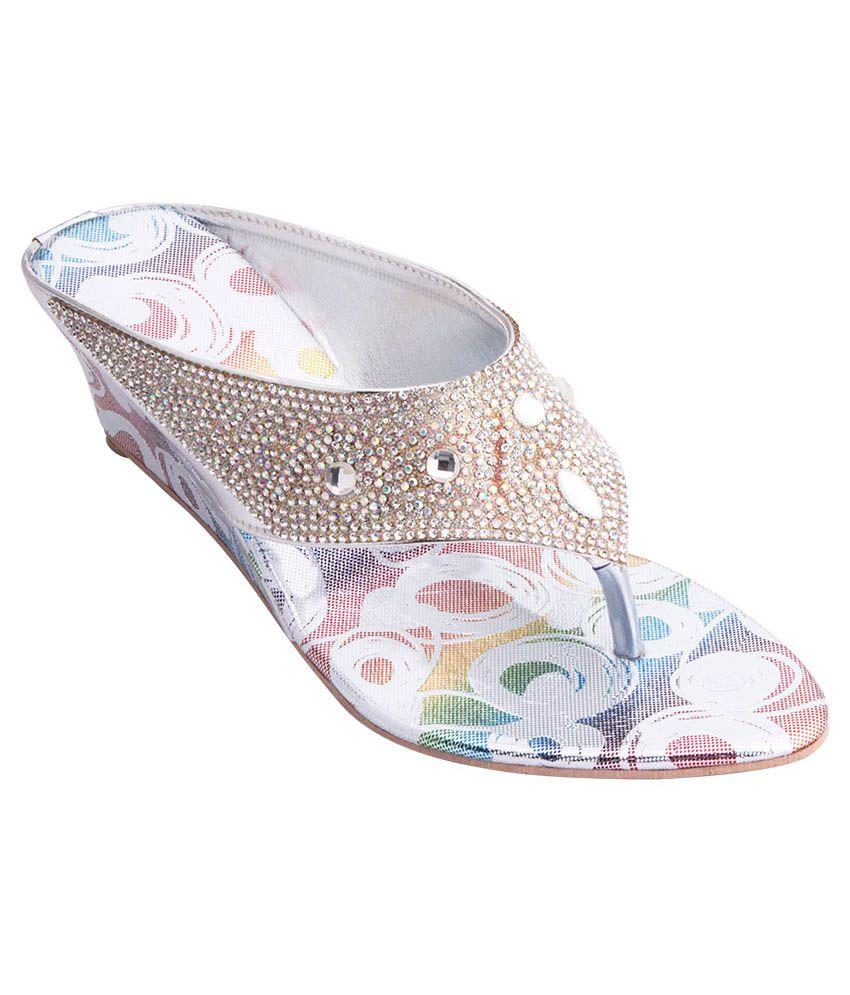 iAnna Silver Wedge Slip-Ons