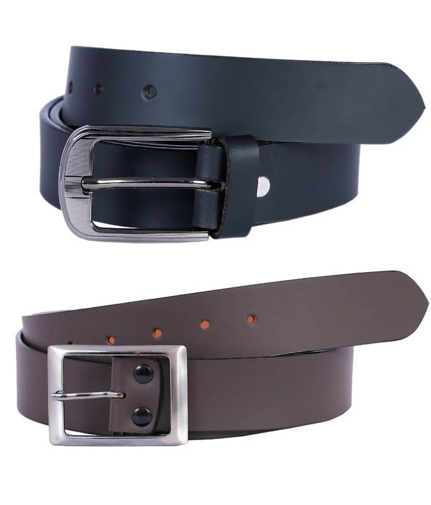 Kritika World Multicolour Formal Single Belt For Men Pack Of 2