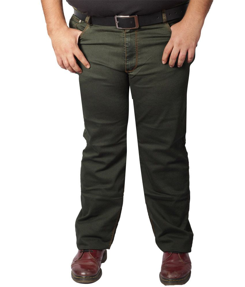 Xmex Green Cotton Blend Jeans