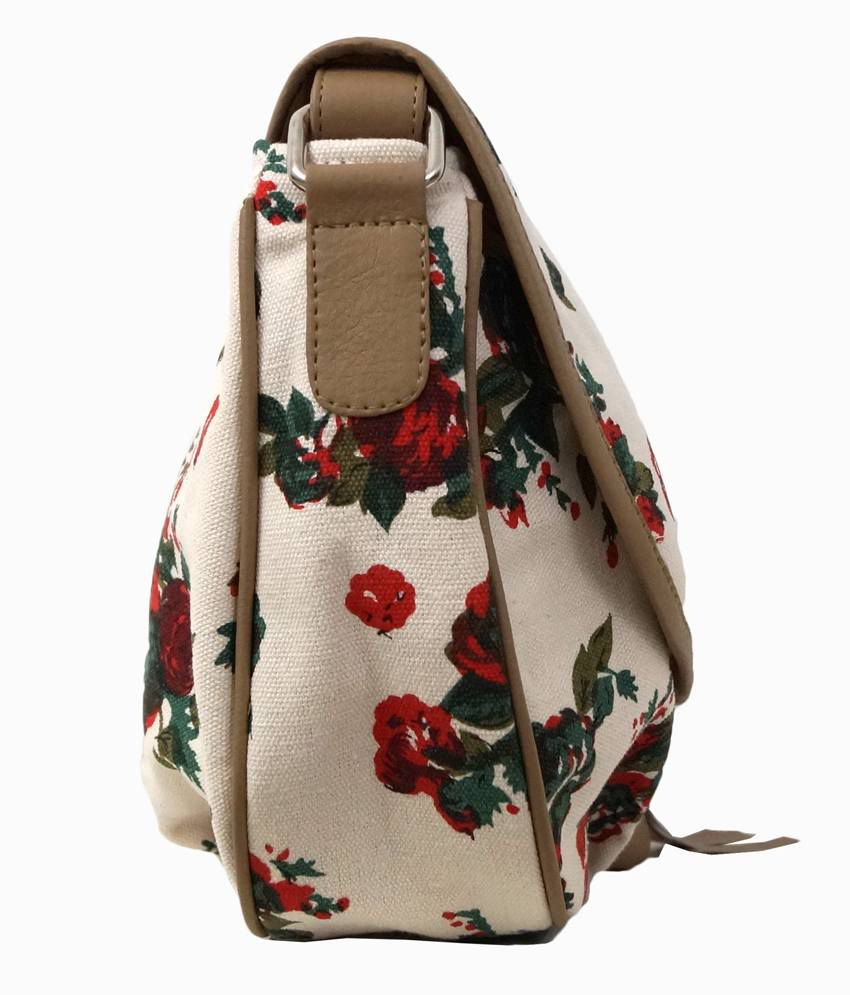 Carry On Bags Cream & Red Floral Print Sling Bag - Buy Carry On ...