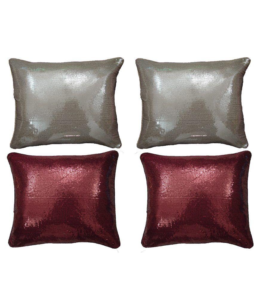 Home Shine Beige & Brown Cushion Covers Set of 4