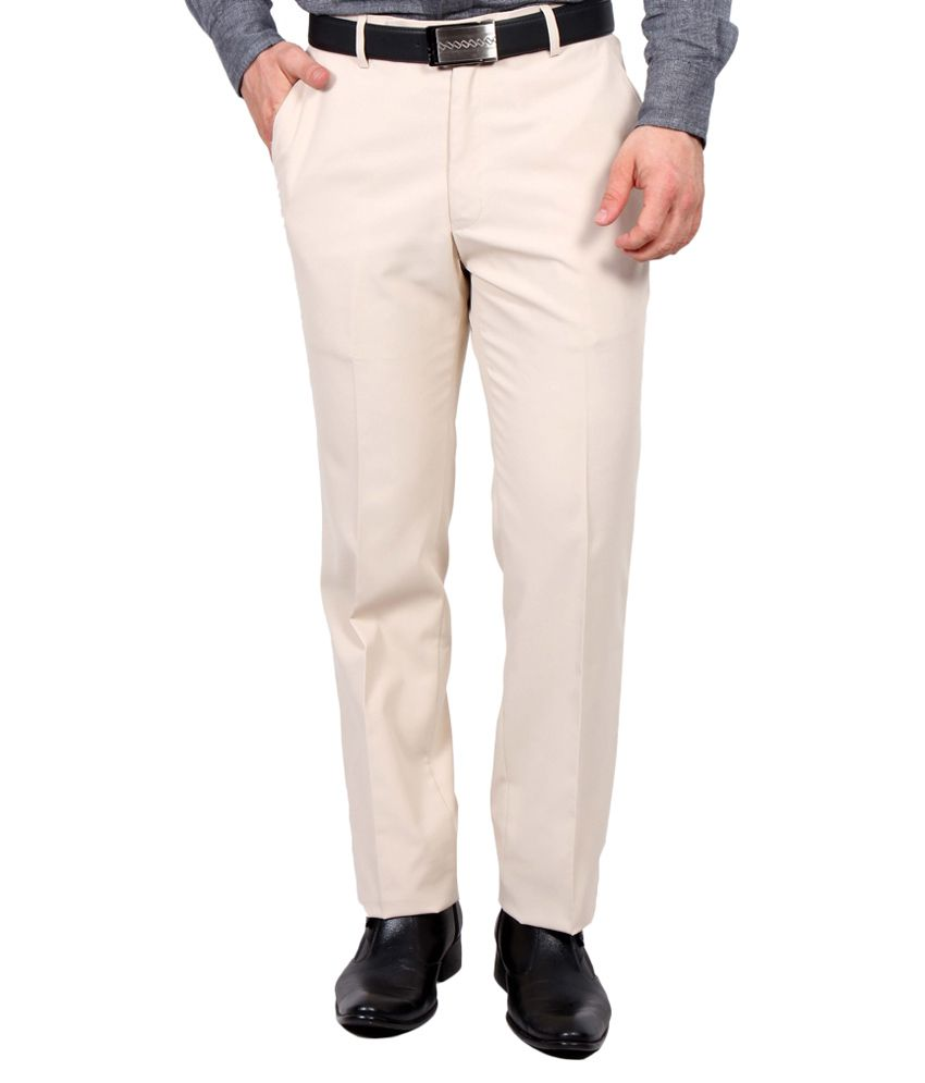 Rich Perk Beige Regular Fit Formal Flat Trouser