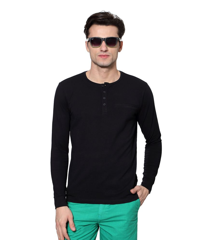 SF Jeans by Pantaloons Black Blended Cotton T-shirt