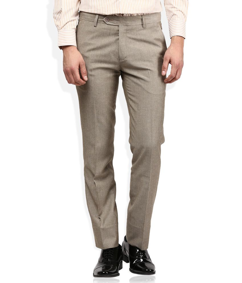 John Players Grey Regular Fit Pleated Trousers