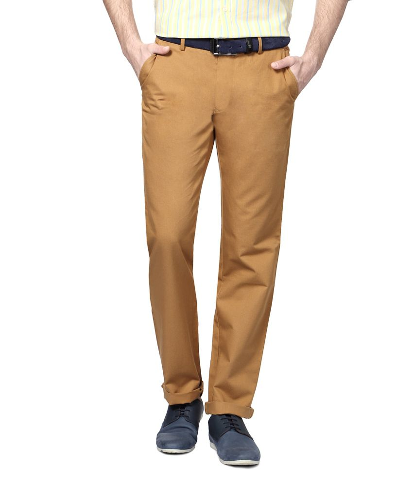 Peter England Brown Blended Cotton Chinos