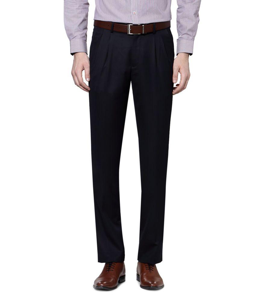 Van Heusen Navy Poly Blend Pleated Trousers
