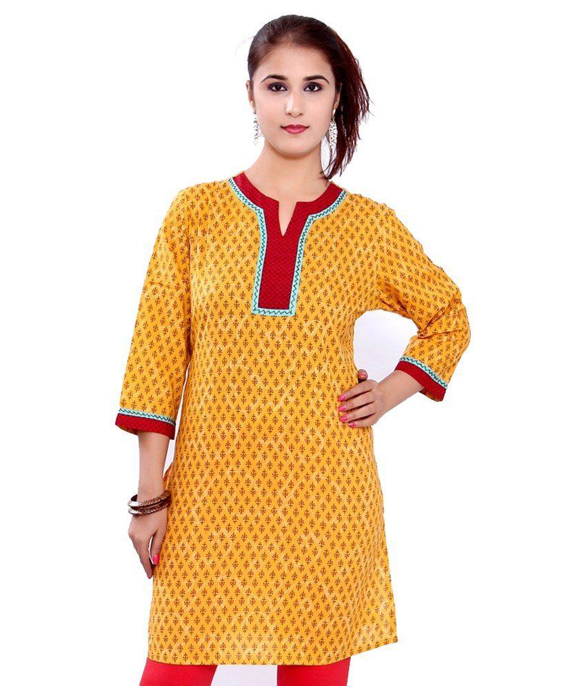Sudharaj Yellow Cotton Kurti
