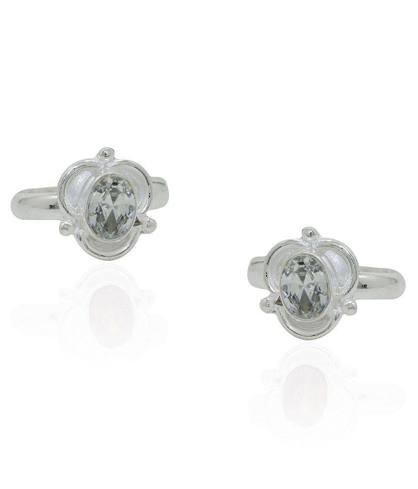 Frabjous White German Silver Toe Rings - Set Of 2