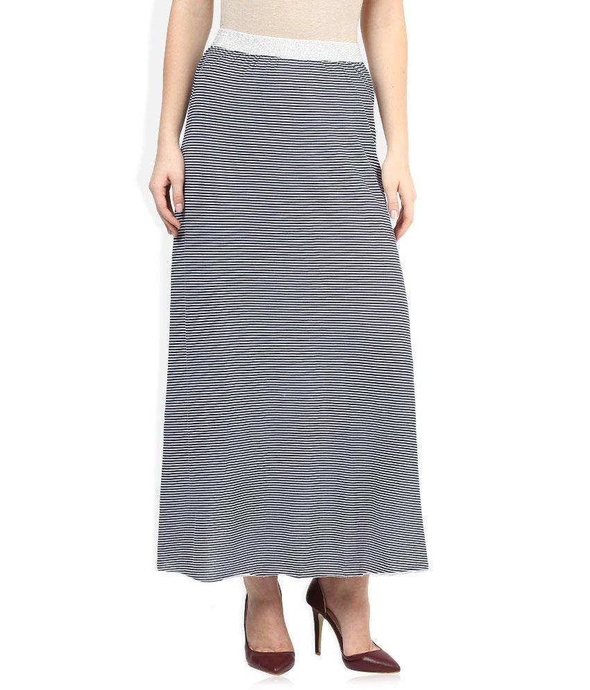 2c7b8e0be78b9 Sisley White & Navy Striped Maxi Skirt