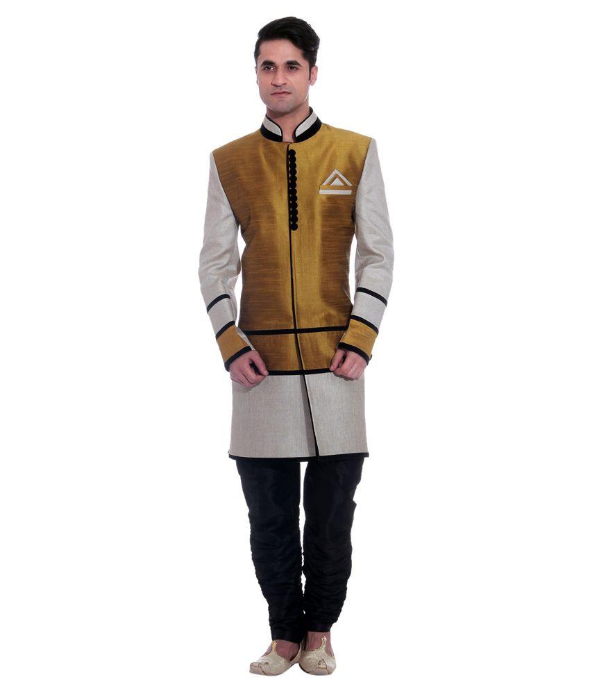 Tag 7 Multicolour Wedding Khimkhab Standard Dhoti Length Sherwani