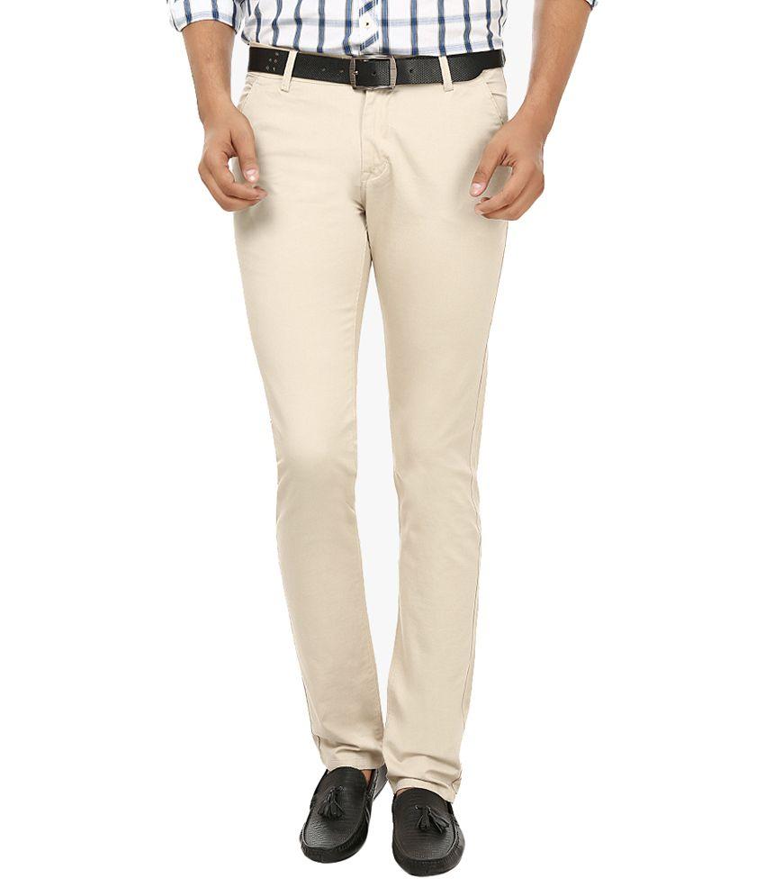Fever Off-White Slim Fit Casual Chinos