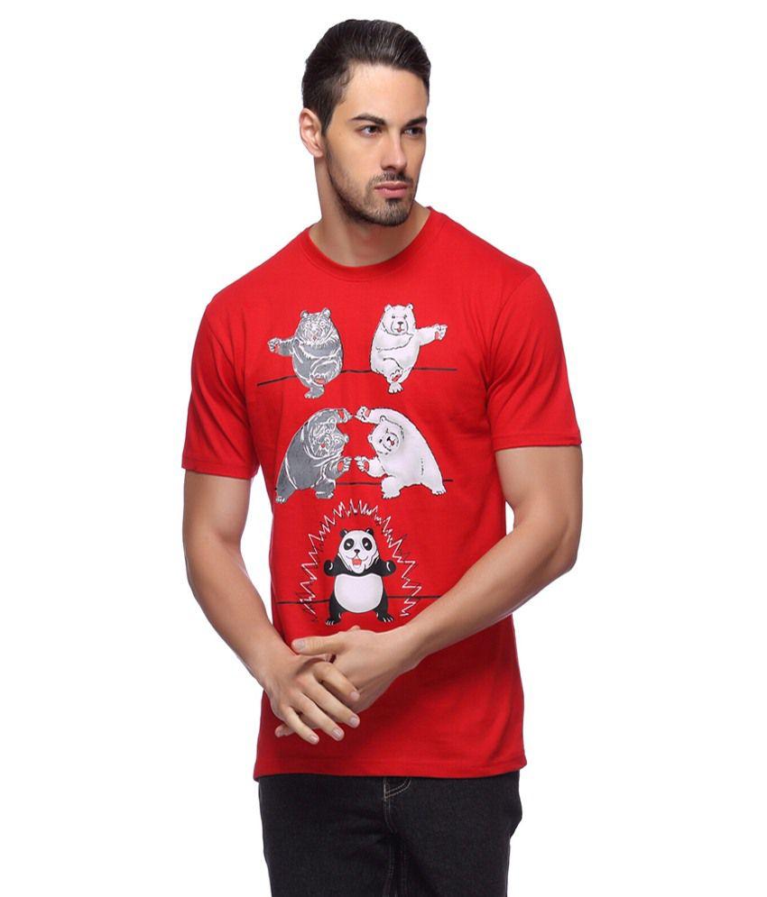 Llo Fashions Red Cotton Blend T Shirt