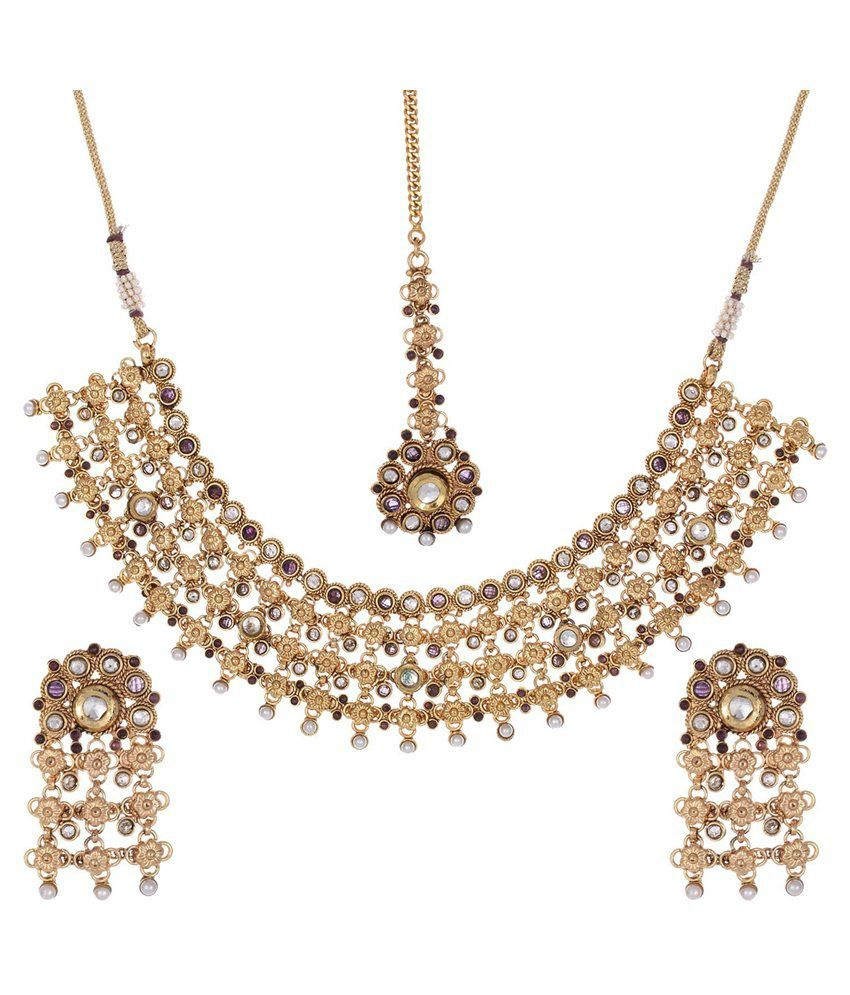 Shahenaz Maroon and Golden Copper Necklace Set with Maang Tika