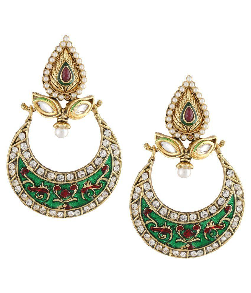 Dg Jewels Beautiful Dangler Earrings With Enamel Work-ER005GR