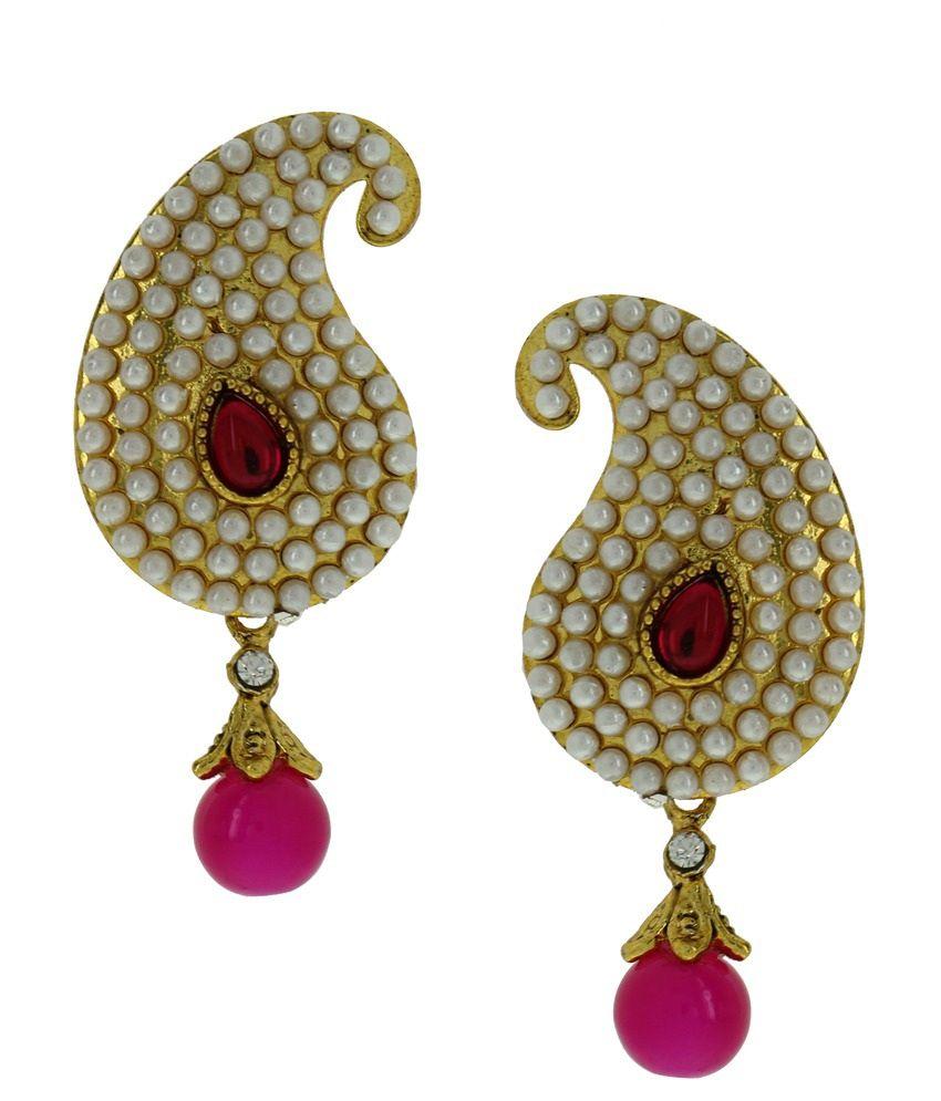 DG Jewels Pink Pearl Designer Drop Earrings