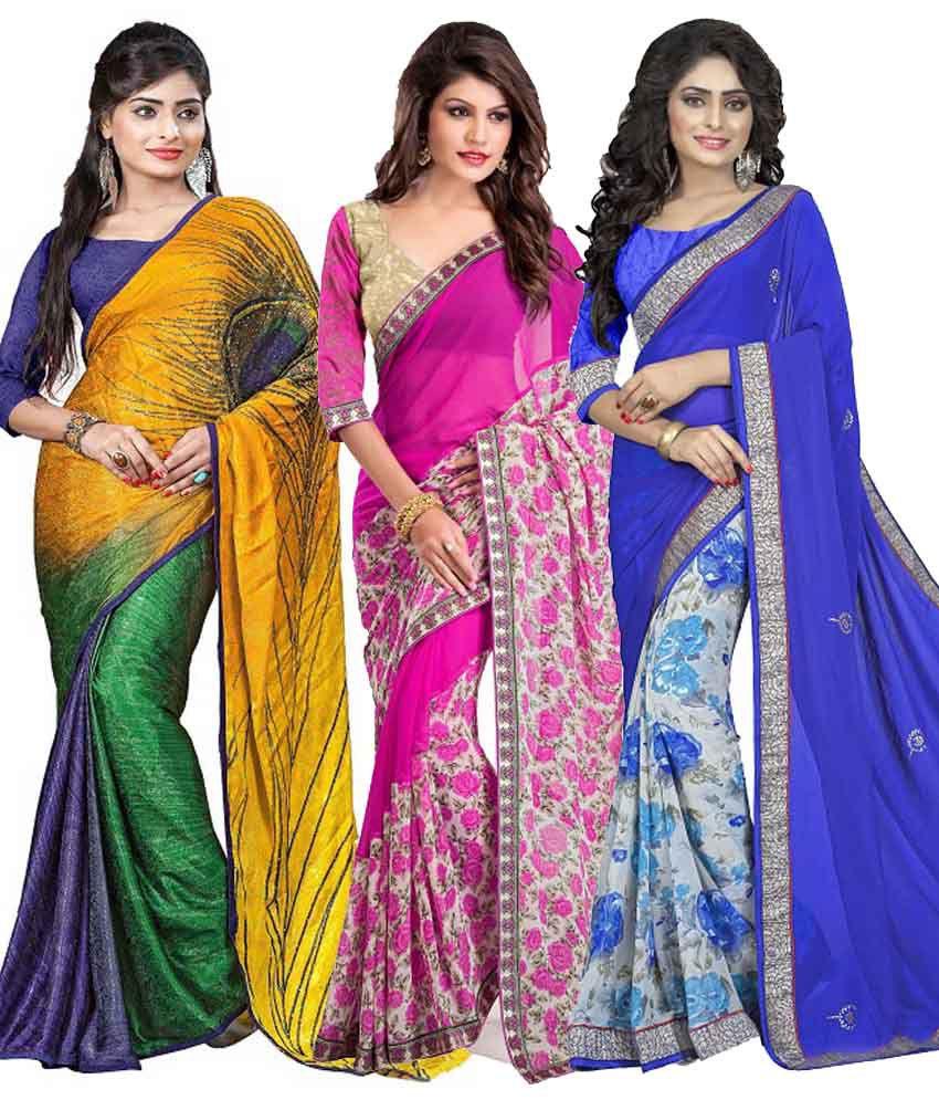 Om Krishna Sarees Multicolor Jecquard , Georgette , Georgette Pack of 3