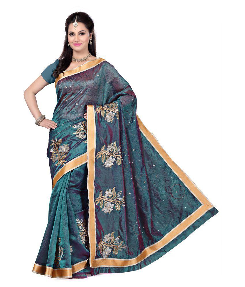 Vritika Turquoise Chanderi Saree