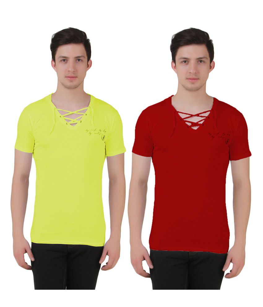 Aeroglide Green & Red Cotton T-Shirts (Pack of 2)