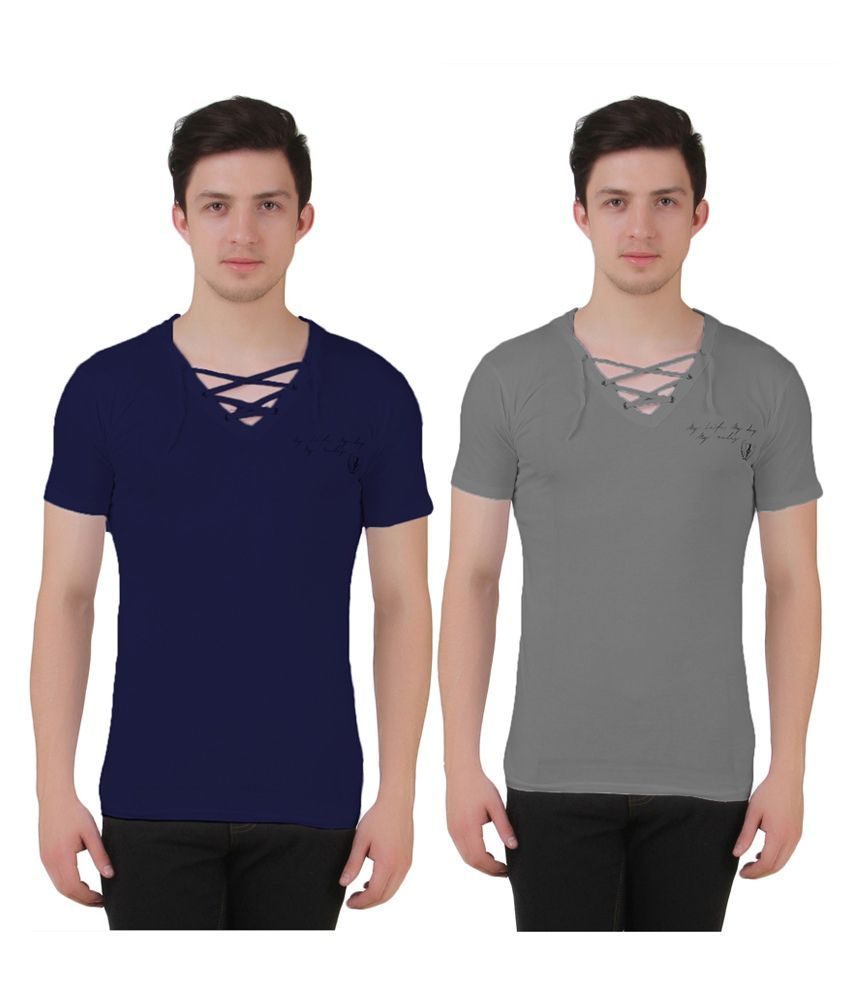 Aeroglide Navy & Grey Cotton T-Shirts (Pack of 2)