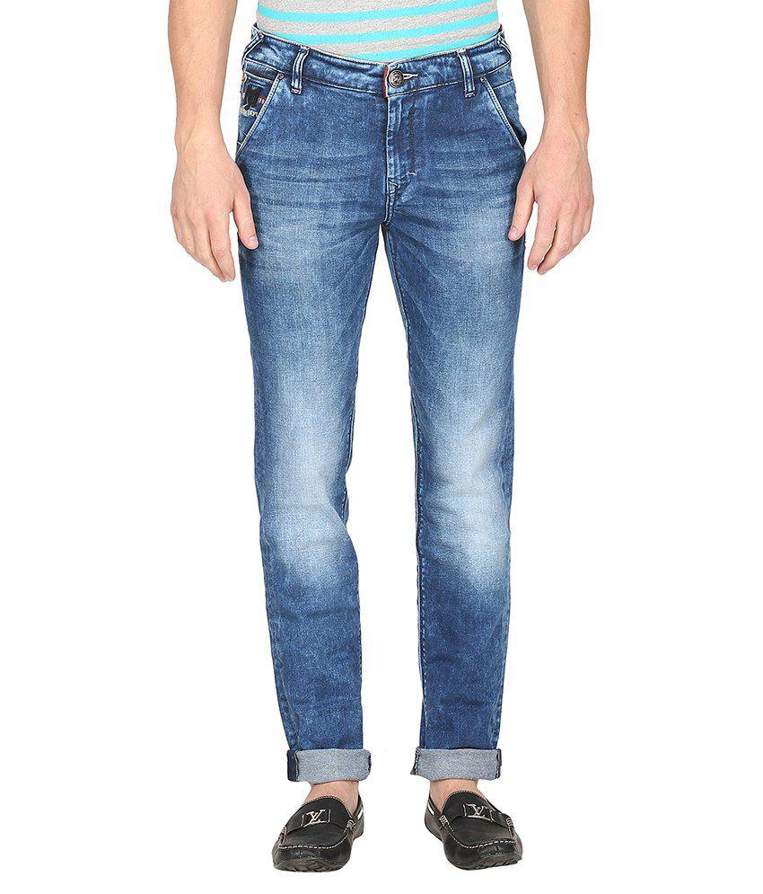 Mufti Blue Light Wash Slim Fit Jeans