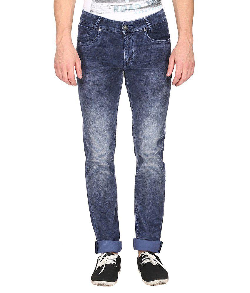 Mufti Blue Stone Wash Slim Fit Jeans