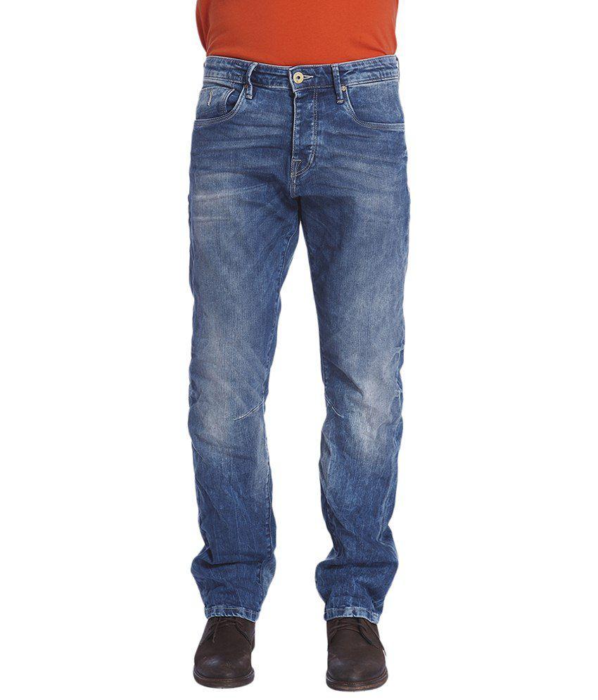 Jack & Jones Blue Cotton Regular Fit Jeans
