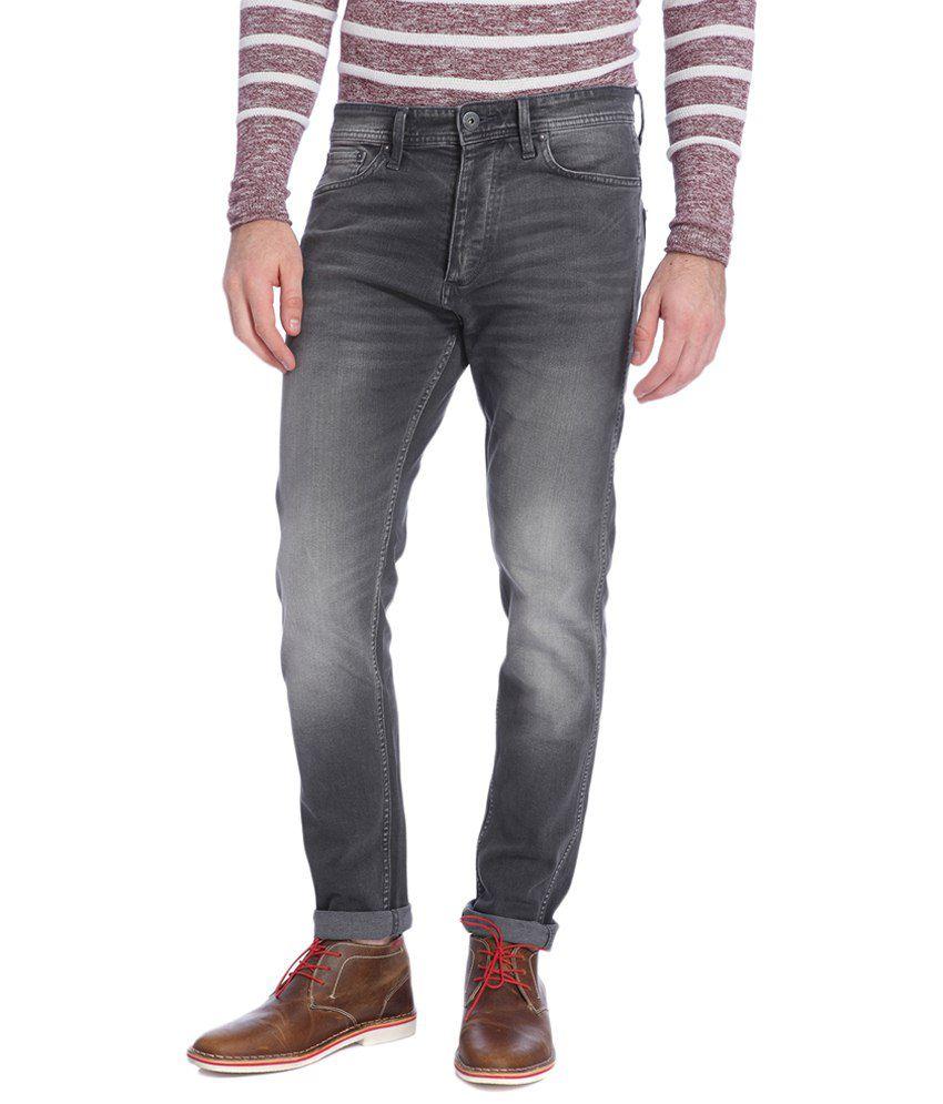 Jack & Jones Gray Cotton Slim Fit Jeans