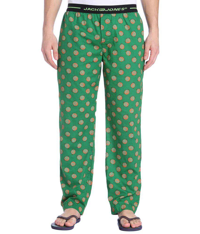 Jack & Jones Green & Orange Printed Pyjamas