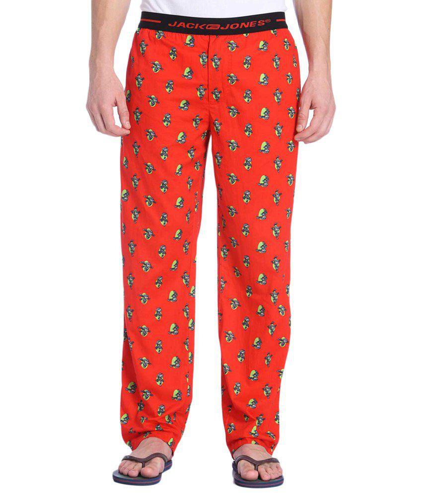 Jack & Jones Red & Green Printed Pyjamas