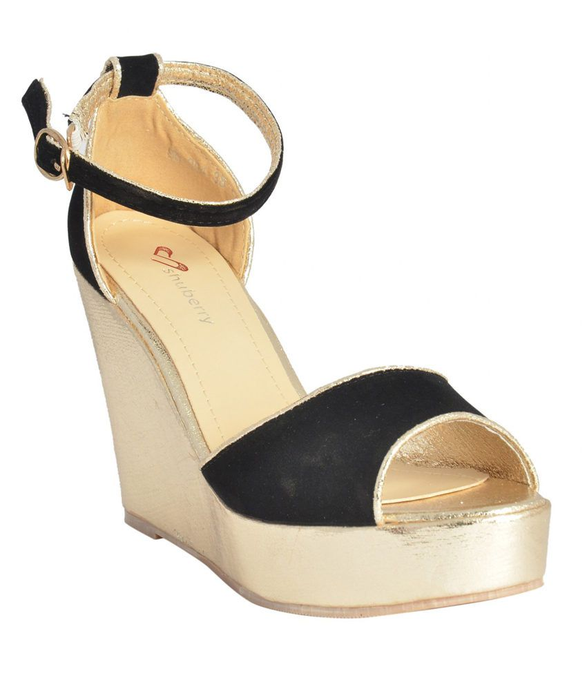 Shuberry Stylish Wedges Shaped Sandals With Ankle Belt - Black