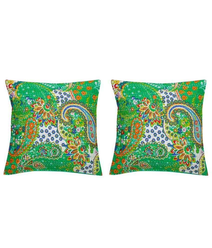 Indigocart Multicolour Printed Cotton Cushion Cover Set Of 2