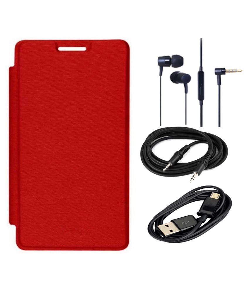 Romito Flip Cover For Samsung Galaxy S3 - Red with AUX Cable, Data Cable and Handfree