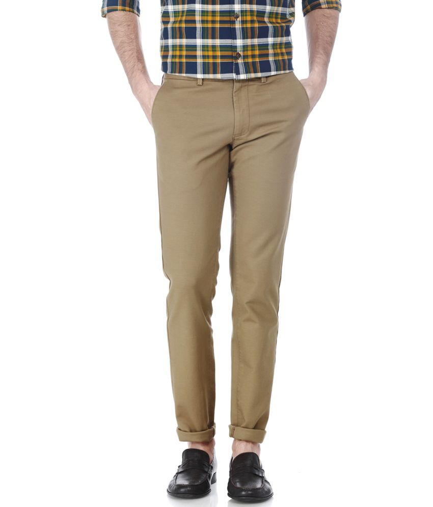 Basics Brown Blended Cotton Chinos
